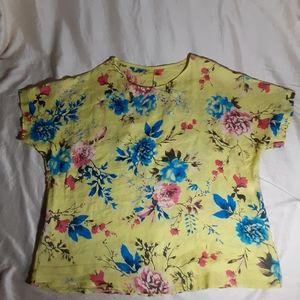 Floral linen blouse size L-XL